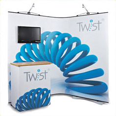 Twist display flexible exhibition graphic banners
