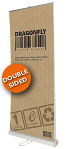 Double sided budget roller banner
