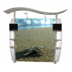 Linear exhibition & graphic display stands