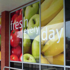 Low cost Window display graphics, vinyl graphics